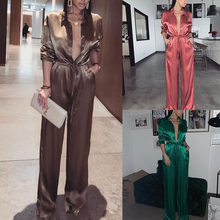 Elegante Losse Night Party Jumpsuit Vrouwen 2019 Sexy Solid Revers Diepe V-hals Satin Bandage Playsuits Dames Streetwear Plus Size(China)