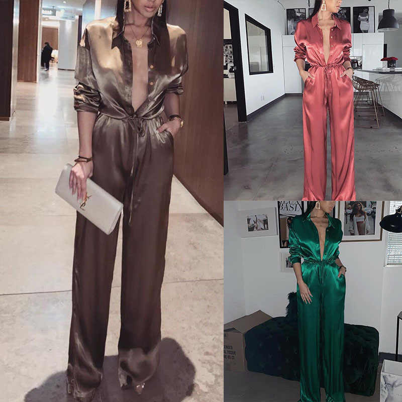 Elegante Losse Night Party Jumpsuit Vrouwen 2019 Sexy Solid Revers Diepe V-hals Satin Bandage Playsuits Dames Streetwear Plus Size