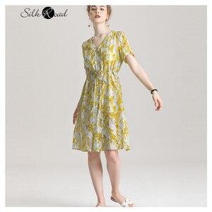 Женское шелковое платье-рубашка Silviye, длинное вечернее платье с v-образным вырезом и цветочным принтом, платье трапециевидной формы с коротк...