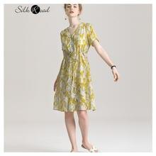 Женское платье рубашка из шелка с коротким рукавом и v образным