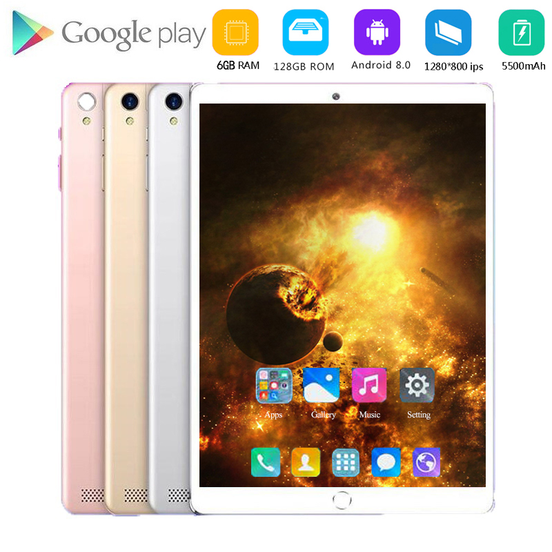 New 128GB ROM 10 Inch Tablet PC 6GB RAM SIM Unlocked 3G WiFi 4G LTE Bluetooth Android 8.0 Glass Tablets 10.1 Android Tablet