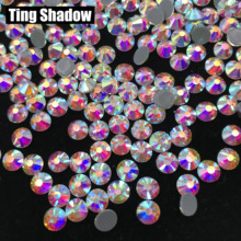 Crystal AB White Flatback Hot fix Glass Rhinestones for Gymnastics Garments shoes Nail Art Decoration