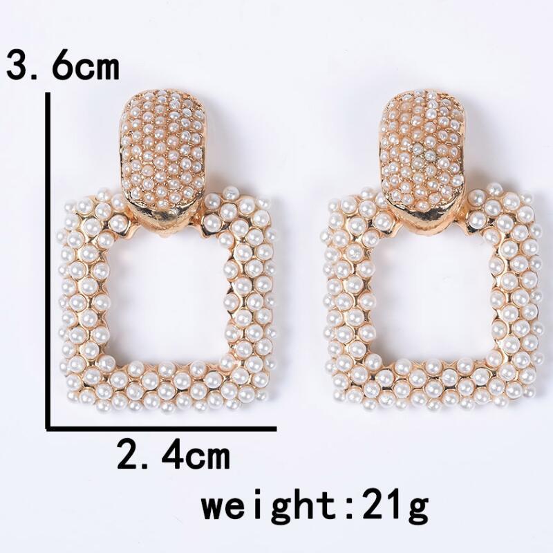 19 New Statement ZA Earrings Women Geometric Square Faux Pearl Earrings Female Wedding Bridal Party Evening Hanging Earrings 2
