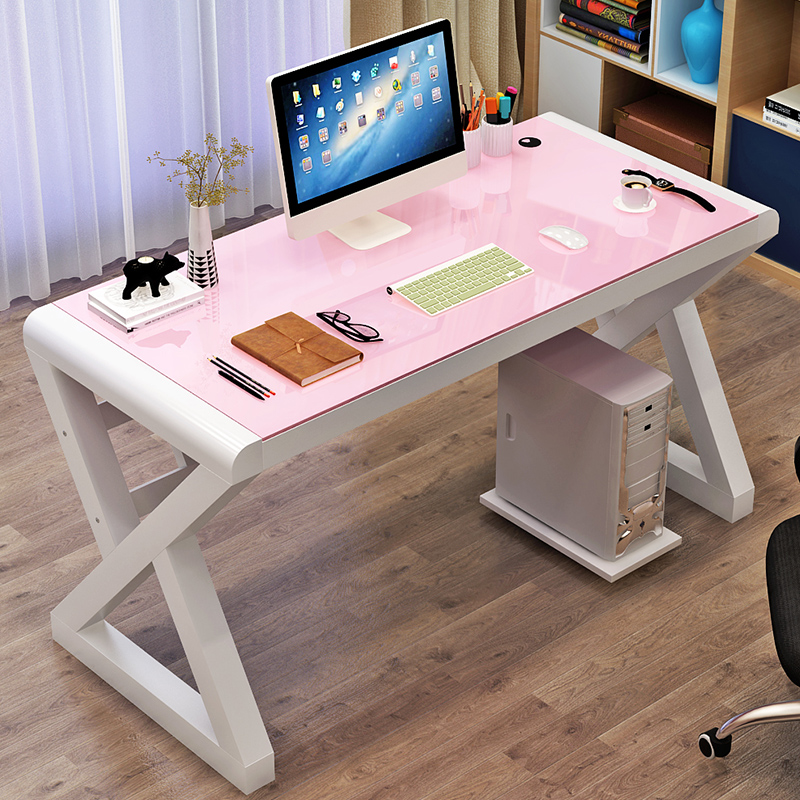 Modern Minimalist Computer Desk Desktop Table Home Desk Economical Desk Tempered Glass Desk Study Table