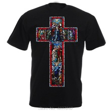 T-Shirt Christian Virgin Mary Catholic Harajuku 100%Cotton O-Neck Top-Tee Glass Stained