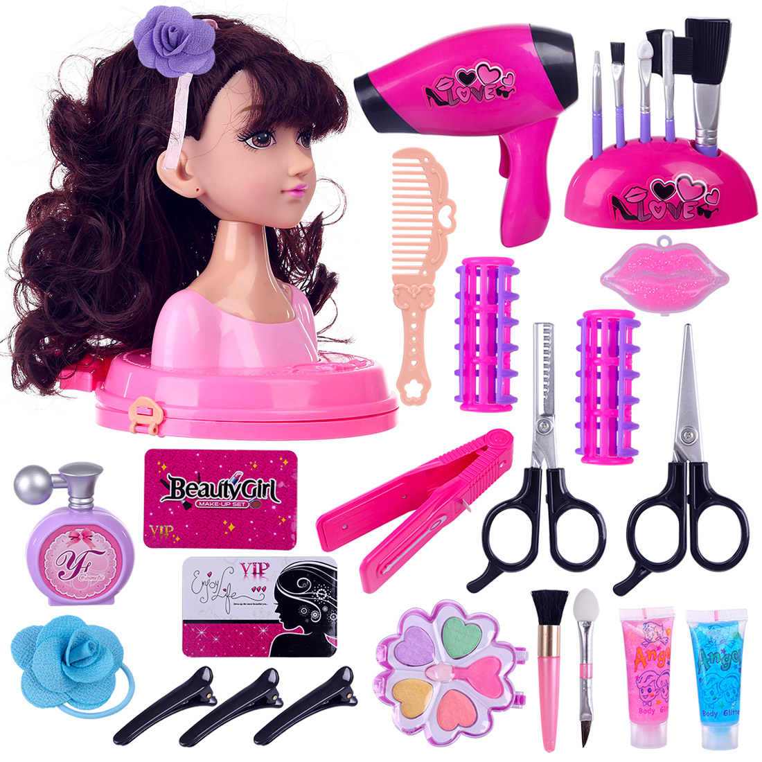 Children Doll Deluxe Styling Head Makeup Pretend Playset Hairstyle Makeup Toy Party Performances Dressing Box Set Gift For Girls