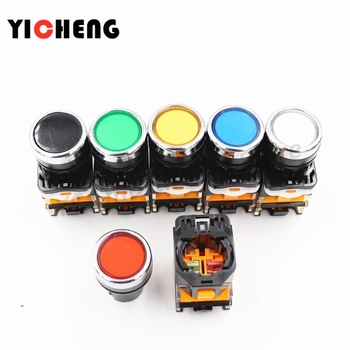 6Pcs self-reset / self-locking button switch High quality and durableLAY38-11BN flat button 22MM normally open normally closed optimized button tact switch limit switch xce 110 direct acting 1p one normally open and one normally closed