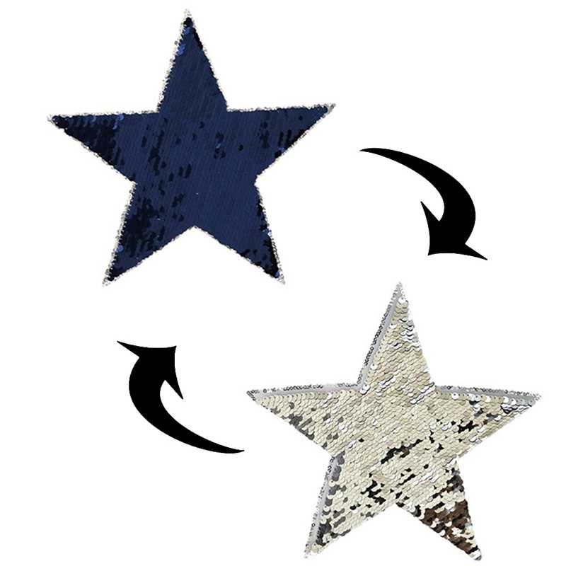 2019 NEW Reversible Change Silver Blue Love Sequins Five-pointed Star Sgape Sew On Patches For Clothes DIY Patch Applique 1PCS