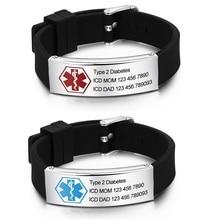 Free Engraving Diabetic Medical Alert Bracelets Personalized Silicone Adjustable Waterproof Emergency ID Bracelets for Men Women