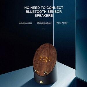 Деревянная Колонка для ПК, умный индукционный динамик, держатель для телефона, портативный Настольный беспроводной мини-будильник, Bluetooth-ди...