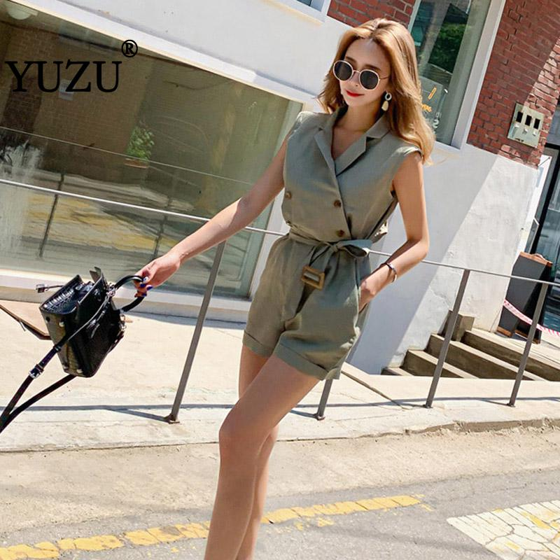 Rompers Womens Jumpsuit Safari Style Retro Army Green Shorts Fashion Office Woman Turn-down Collar Double-breasted Jumpsuits
