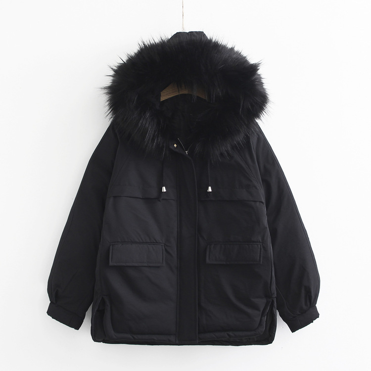 Mori Girl Line Winter New Style Large Fur Collar Down Feather Cotton-padded Clothes Women's Korean-style Students Loose-Fit Hood