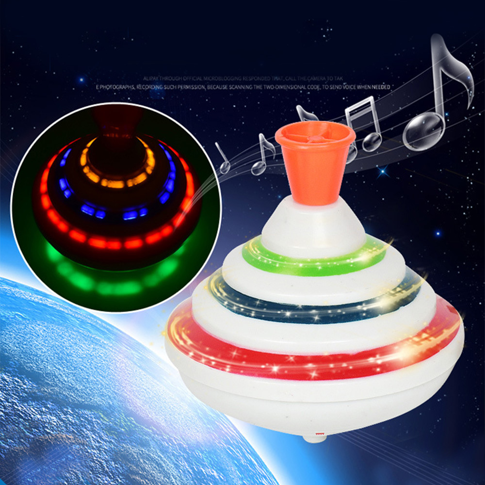 Push Down Spinning Tops Toy With LED Music Peg-Tops Hand Spinning Gyro Toy Gift For Kids Gift Boy Classic Electric Toys Funny(China)
