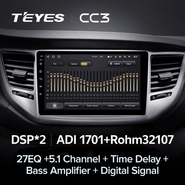 TEYES CC3 Штатная магнитола For Хендай Туксон 3 For Hyundai Tucson 3 2015 - 2018 до 8-ЯДЕР, до 6 + 128ГБ 27EQ + DSP carplay автомагнитола 2 DIN DVD GPS android 10 мультимедиа автомобиля головное устройство 4