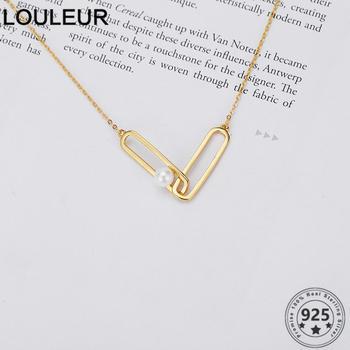 Collar Louleur de Plata de Ley 925, colgante de Clip de papel, Gargantilla para mujeres, joyería de plata 925, cadena de joyería
