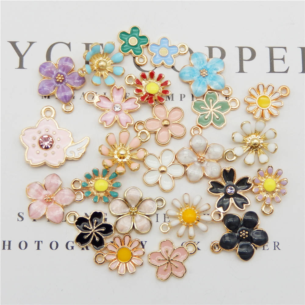 60pcs Mixed Enamel Charms Pendants Fruits Flower Animal Tree Sea Creatures Bird Charms for Jewelry Making