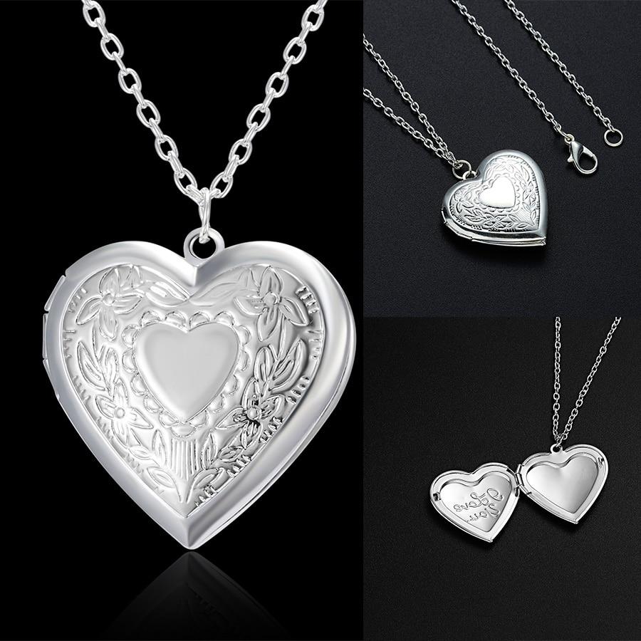 Unique sculpté Design en forme de coeur cadre Photo pendentif breloque collier ouvrable médaillon colliers femmes hommes bijoux commémoratifs