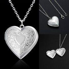 Design único esculpido em forma de coração foto quadro pingente colar charme opable medalhão colares feminino masculino memorial jóias