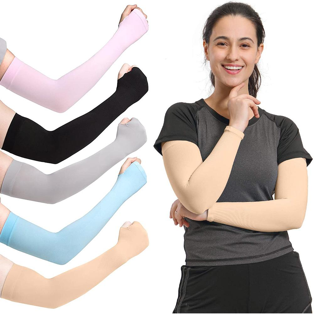 2PCS Summer Arm Sleeves Women Men Arm Compression Sleeve Armwarmer UV Sun Protection Cotton Long Fingerless Gloves Arm Sleeves