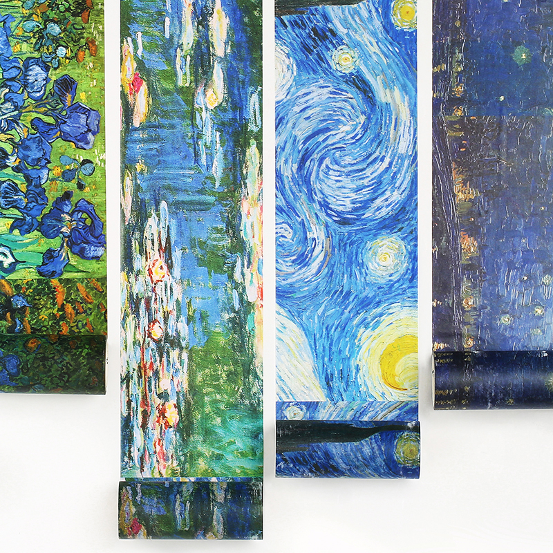 10cm Wide Painting Adhesive Masking Tape Art Museum Van Goah Starry Night Monet Water Lilies Washi Tapes Journal Decoration F106