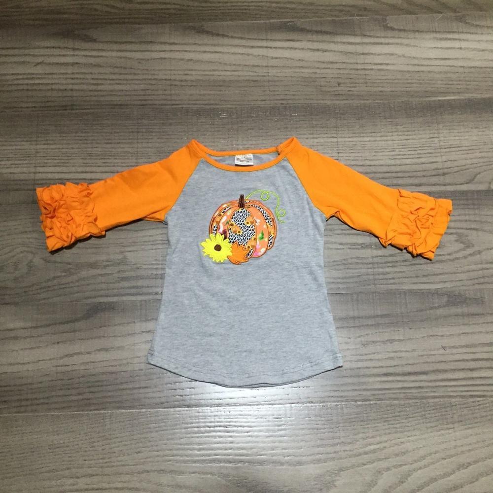 Girlymax Fall Halloween Tie dyed plaid leopard pumpkin cotton top icing sleeve t-shirt baby girls raglans boutique kidswear 3