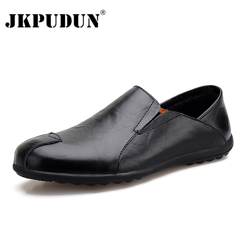 Genuine Leather Men Casual Shoes Brand Summer Mens Loafers Moccasins Breathable Slip On Black Driving Shoes Men Plus Size 37-47