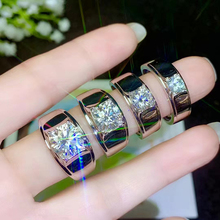 BOEYCJR 925 gümüş 0.5ct/1ct/2ct/3ct F renk Moissanite VVS nişan düğün pırlanta yüzük erkekler için ulusal sertifikası