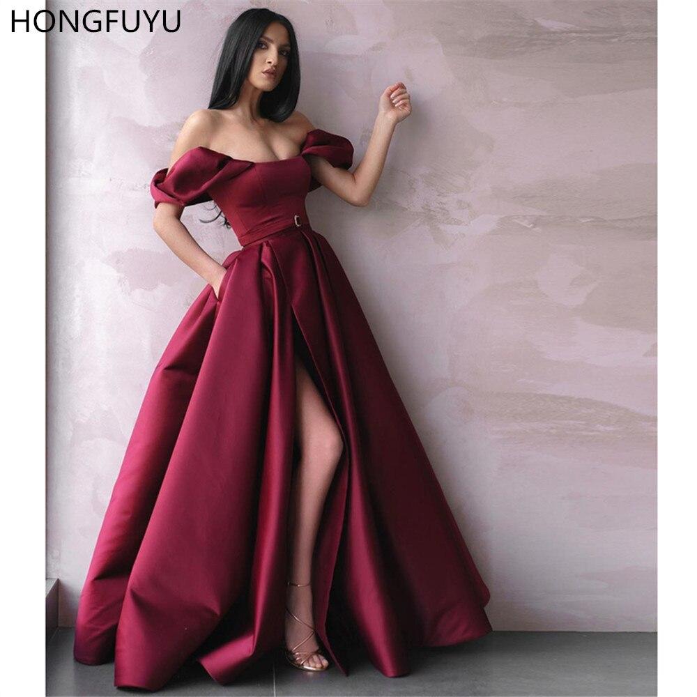 HONGFUYU Off The Shoulder Satin Evening Formal Dress A Line Burgundy Vestido De Fiesta Long Prom Dresses With Pockets Side Slit