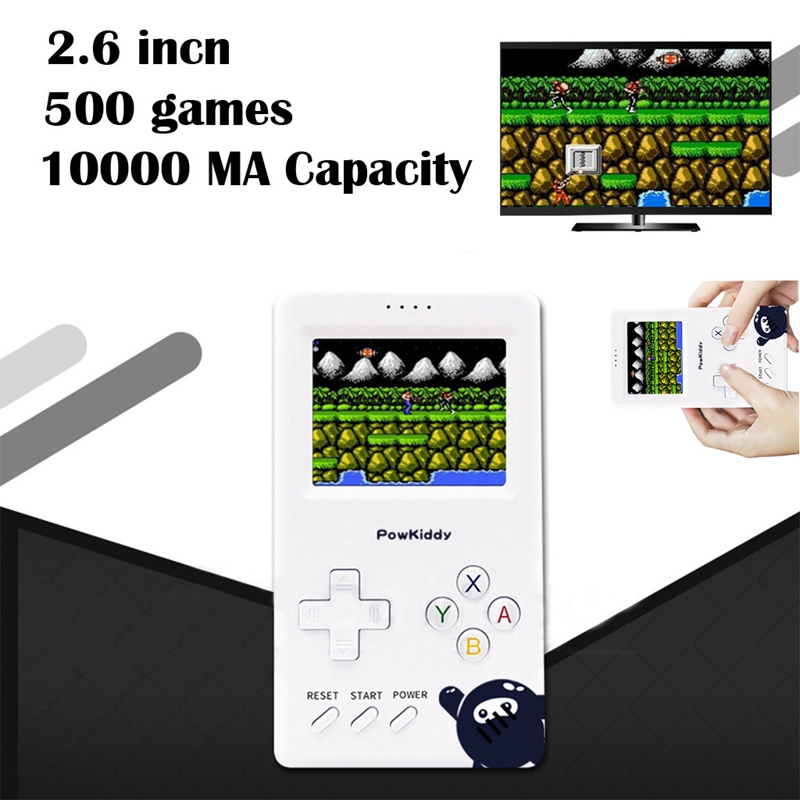 Powkiddy V6 Video Game Console Retro Game Handset Machine in 500 Games 2.6Inch 10000Ah Capacity Portable Arcade Mini Games