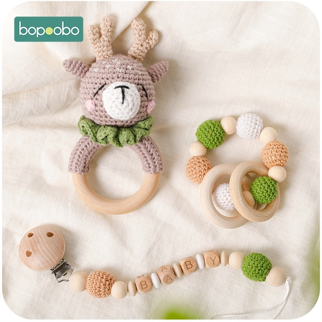 Bopoobo 1pc Baby Teether Safe Wooden Toys Mobile Pram Crib Ring DIY Crochet Rattle Soother Bracelet Teether Set Baby Product 4
