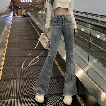 ZOSOL New Style High-waisted Boot-Cut Jeans Women's Slim Fit Slimming Elasticity Flash Bell-bottom Pants new lace fly sleeved suspenders wear high waisted pants boot cut lace jumpsuit