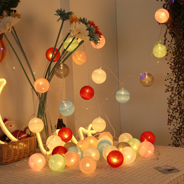 Garland Cotton Balls String Lights USB Battery Powered 6CM 40 Cotton Ball Light Chain Fairy Holiday Lights Birthday Party Gifts 2