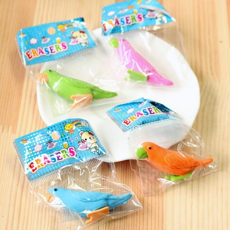 4pcs/lot Cute Color Bird Design Nontoxic Disassembly Eraser Students' Gift  Kids' Alpinia Toy Office School Supplies