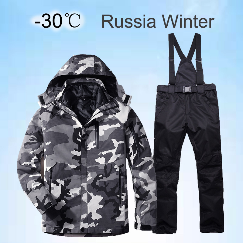 2019 New Winter Ski Suit For Men Set Windproof Waterproof Warm Skiing Snowboarding Suits Set Male Outdoor Hot Ski Jacket + Pants