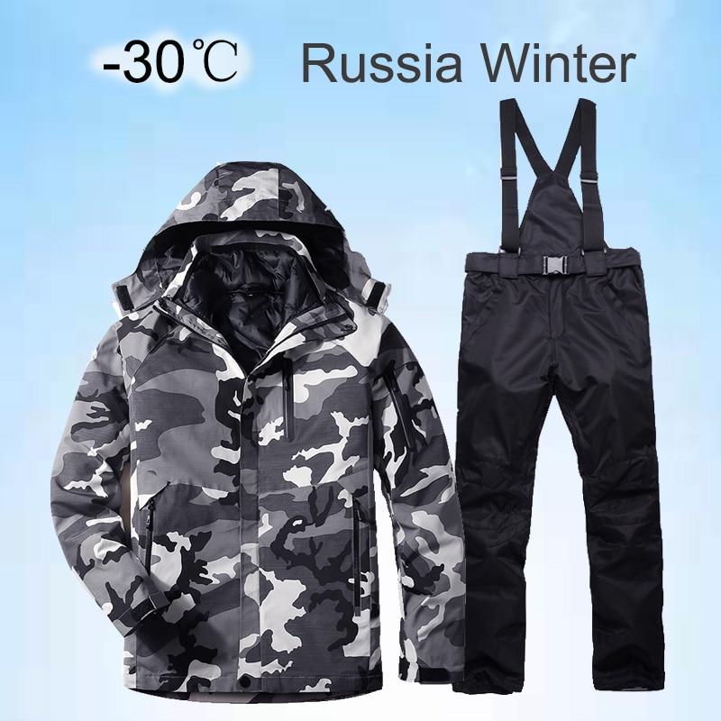 2020 New Winter Ski Suit For Men Set Windproof Waterproof Warm Skiing Snowboarding Suits Set Male Outdoor Hot Ski Jacket + Pants