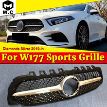 For MercedesMB W177 Front Bumper grille grill Diamond Style ABS Silver Sport A class A45 look Kidney grills Without Sign 2019-