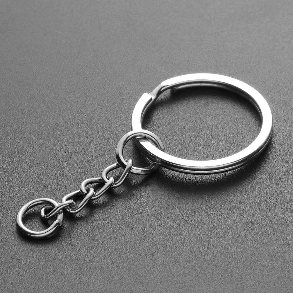 10pcs 25mm DIY Key Chains Polished Silver Color Keyring Keychain Short Chain Split Ring Key Rings Accessories