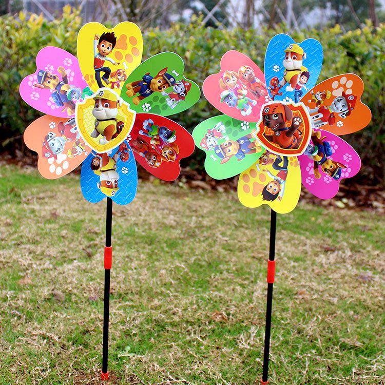 Hot Selling Hand-Held CHILDREN'S Toy Windmill Outdoor Decoration Stereo Dog Dan Huang Tou Plastic Colorful Windmill