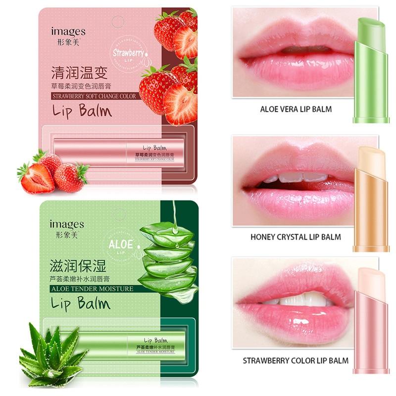 1 шт., натуральный увлажняющий бальзам для губ с алоэ, меняющий цвет, питательный, для макияжа, губная помада, стойкий Уход за губами TSLM2