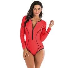 New One Piece Long Sleeve Rash guards Swimwear Women Female Beach Front Zipper Swimsuit Surf Bathing Suits Beach wear