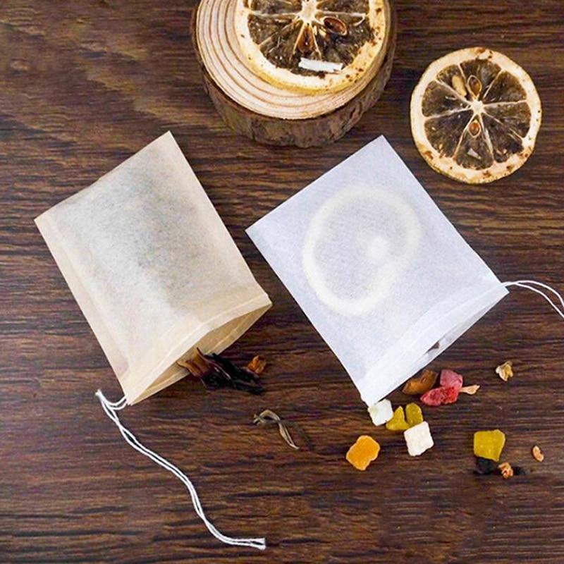100 Teile/los Tee Tasche Filter Papier Beutel Leer Kordelzug Teebeutel Für Kraut Tee