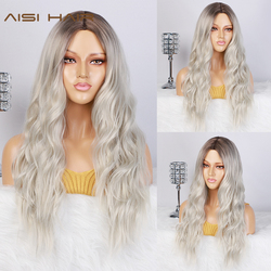 AISI HAIR Long Womens Wigs Ombre Platinum Blonde Wigs Heat Resistant Part Side Synthetic Wavy Wigs for African American Women