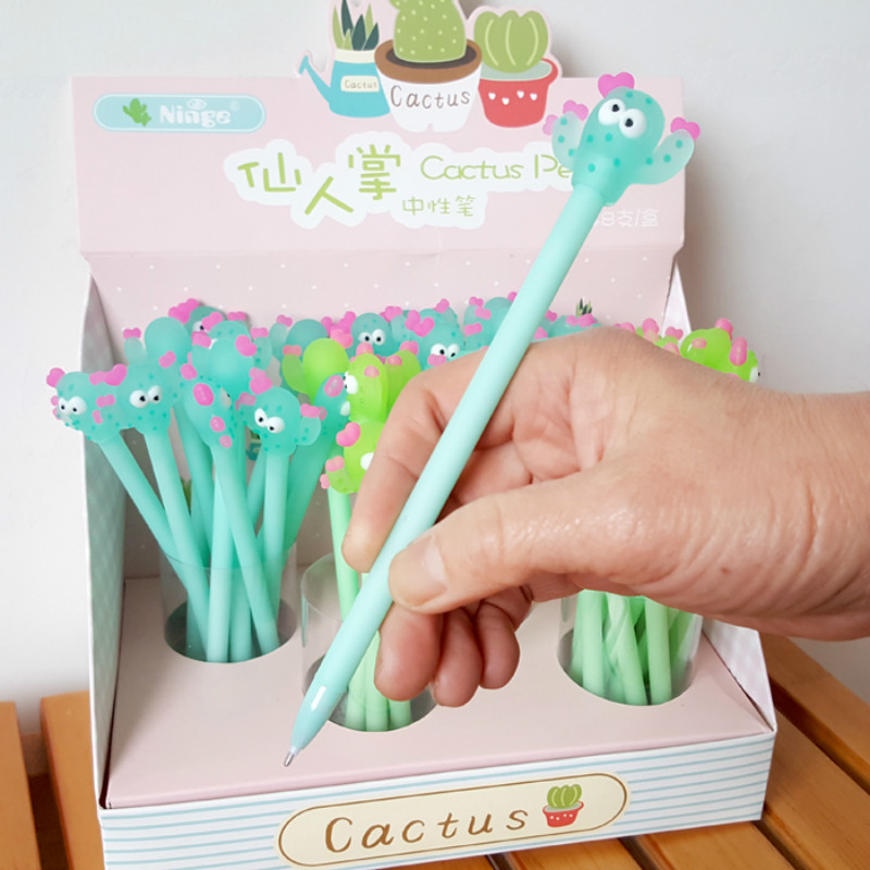 Pocket-Pen Pen-Rotating Writing-Tool Ballpoint Cactus Green Kawaii Durable 1pcs Exquisite title=