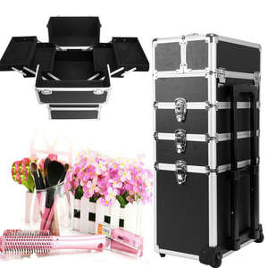 Yonntech 5 in 1 Cosmetic makeup nail hairdressing Beauty Case black Vanity Trolley