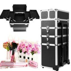 Yonntech-étui de maquillage 5 en 1 | Mallette de maquillage noir, chariot de vanité