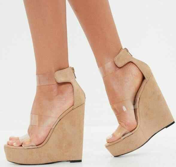 Sexy Nude Wedge Sandals Clear PVC Ankle