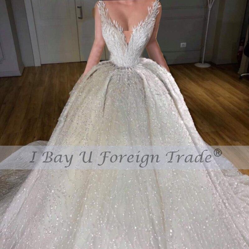 350cm Long Train 6m Veil Princess De Luxe 2021 Beading Full Luxury Lace Ball Gown Wedding Dress Off the Shoulder