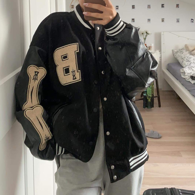 Varsity Baseball Bomber Jacket Women Hip Hop Harajuku Bone Letter Patchwork Leather Jackets Streetwear Men Unisex College Coats
