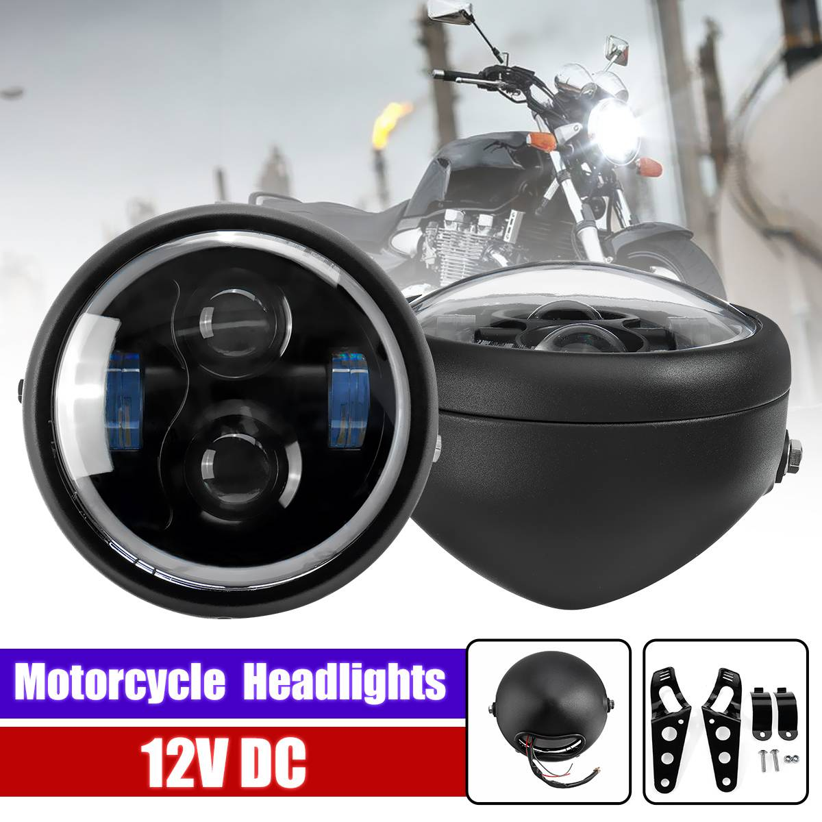 7 Inch LED Projection Motorcycle Headlight Lamp With Brackets Ring Headlight Lamp Universal Front Light For Harley Head Light