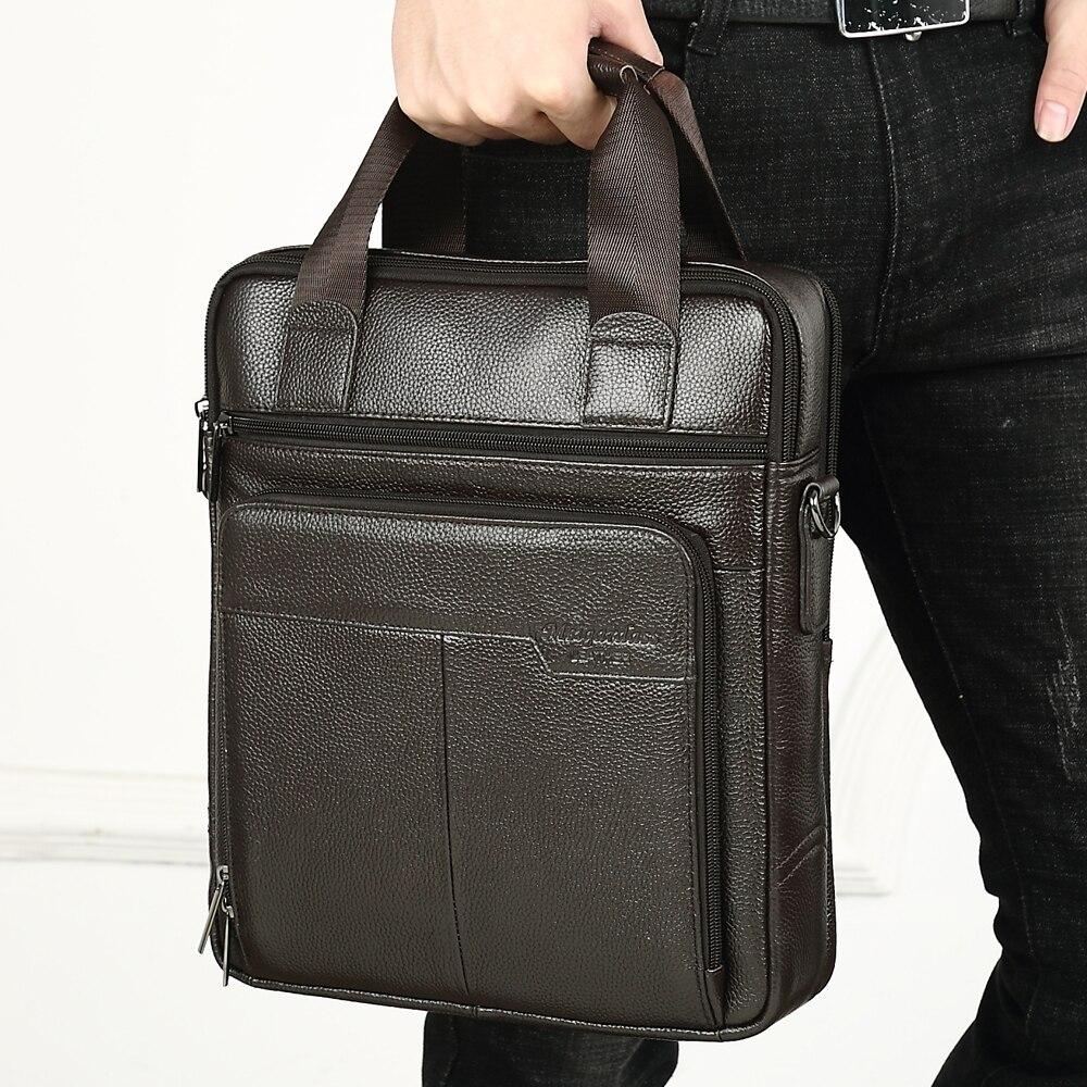 Genuine Leather Business Briefcase Men Travel Shoulder Messenger Bags Male Document Handbags Laptop Computer Bag
